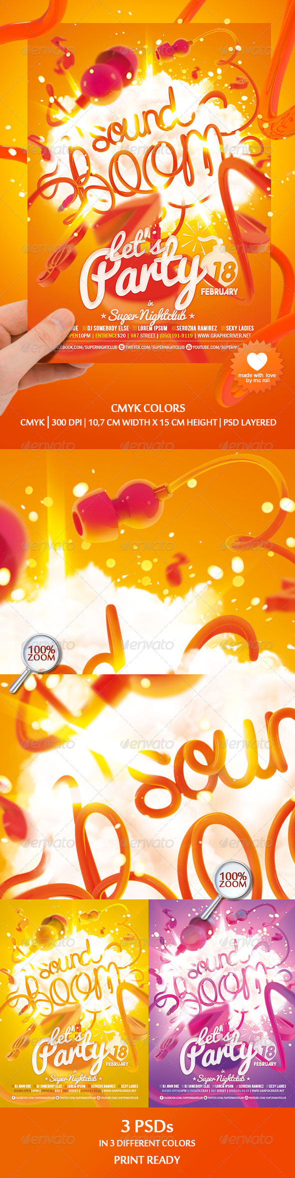 GraphicRiver Sound Boom Nightclub Flyer 3269803