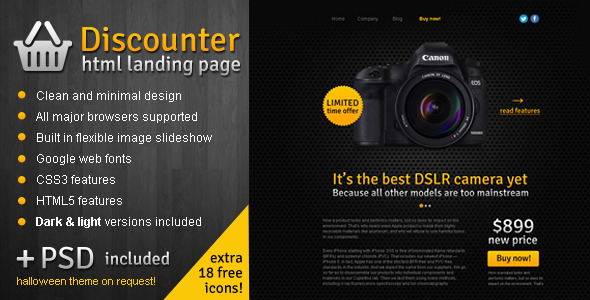 ThemeForest Discounter Product Promo Landing Page 3251426