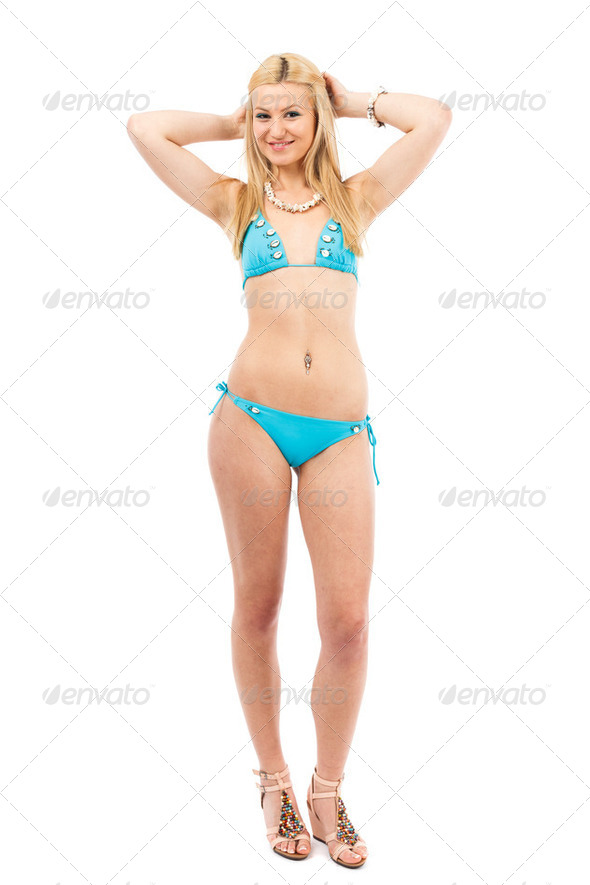 Blonde girl in swimsuit - Stock Photo - Images