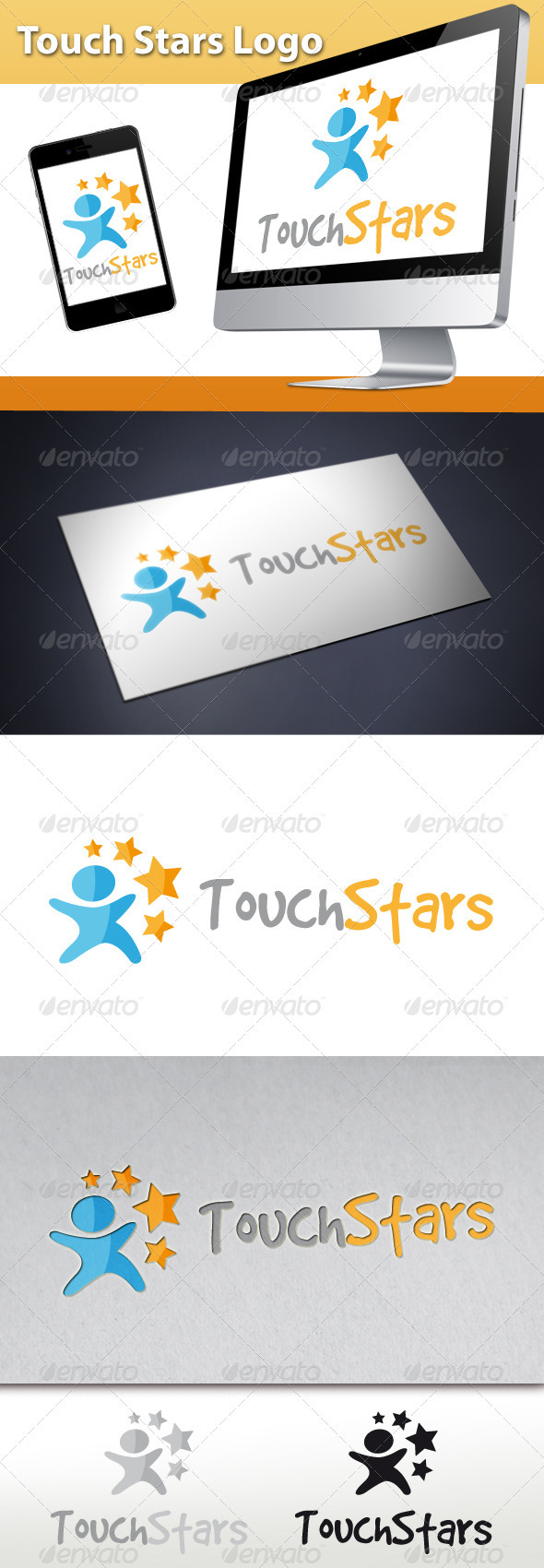 Touch Stars Logo - Humans Logo Templates