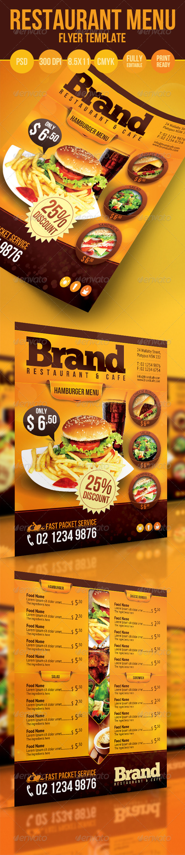 GraphicRiver Restaurant Menu Flyer 3270438