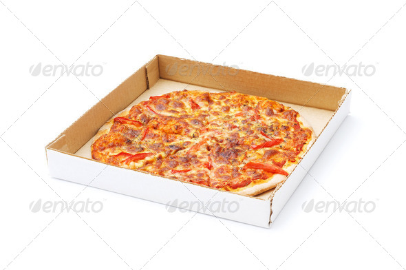 Pizza isolated on the white background - Stock Photo - Images