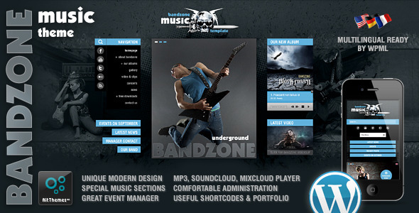 Bandzone: Wordpress Theme made by Musicians - Music and Bands Entertainment