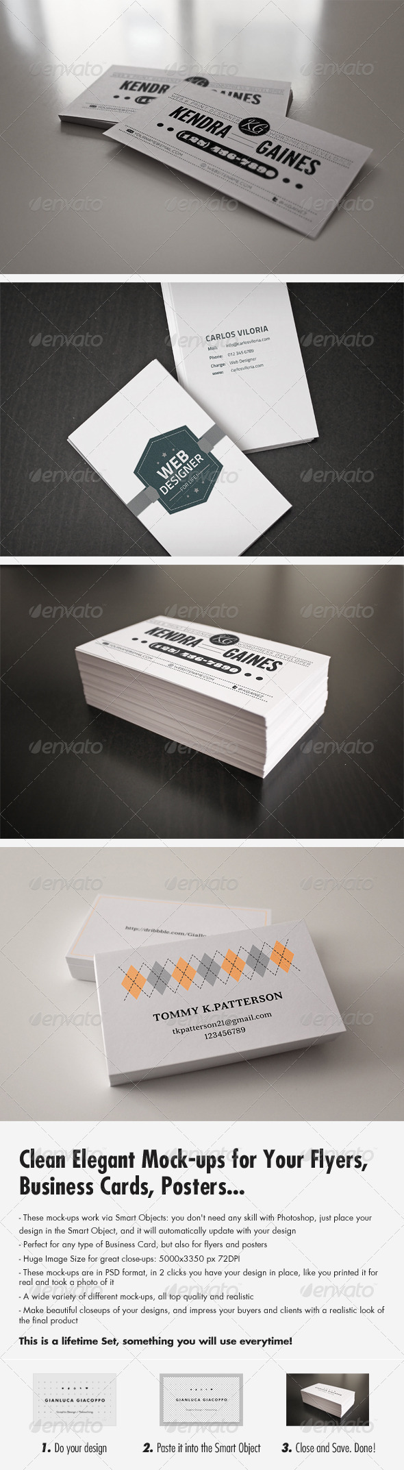 Flyer Business Card Clean Realistic Mockups Set 1