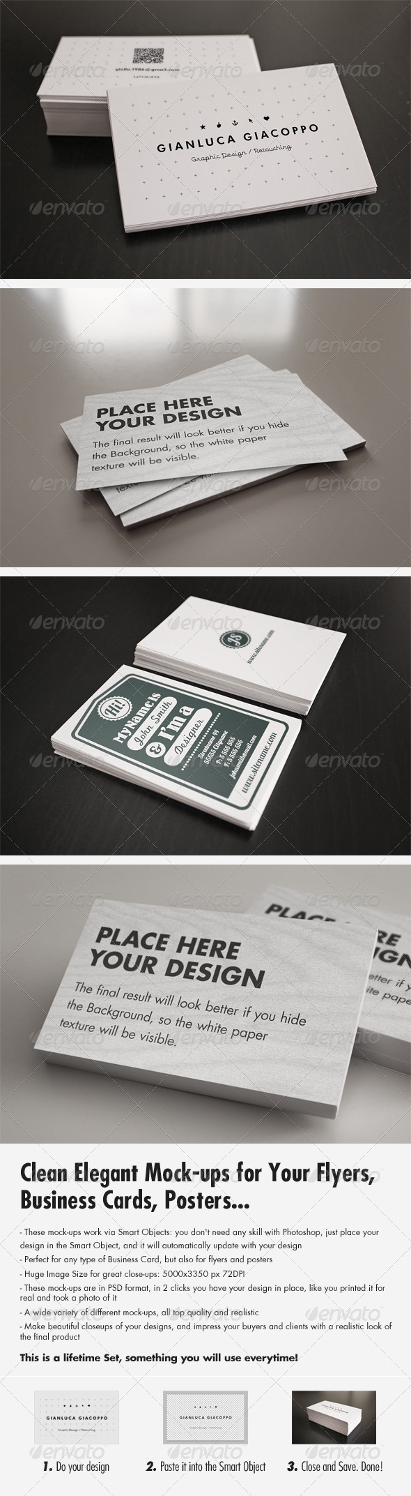Flyer/Business Card Clean Realistic Mockups Set 2  - Business Cards Print
