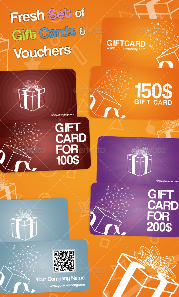 GraphicRiver Fresh Set of Gift Cards and Vouchers 3164950