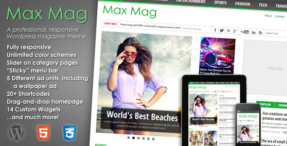 ThemeForest Max Mag Responsive Wordpress Magazine Theme 3103810