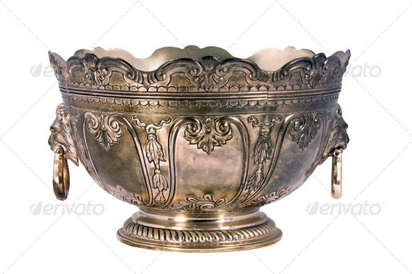 Cancel Uploading... (29%) engraved silver bowl - Stock Photo - Images