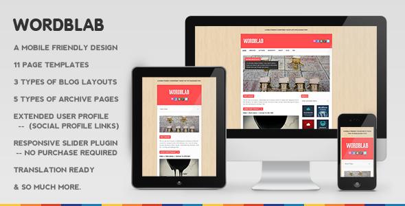 ThemeForest Wordblab Responsive Blogging Theme 3272332