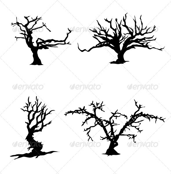 GraphicRiver Trees witn no leaves silhouettes 3272446