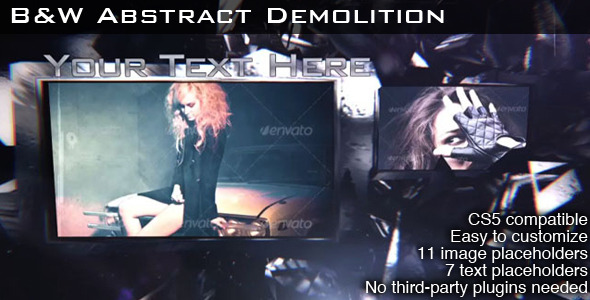 After Effects Project - VideoHive B&W Abstract Demolition 3239575