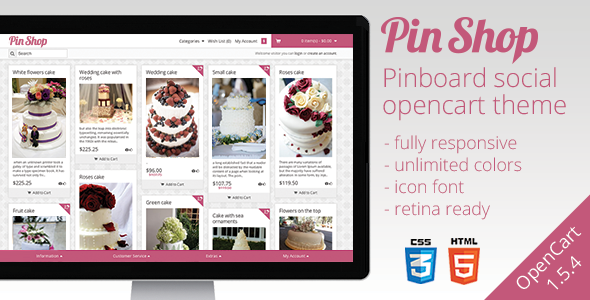 ThemeForest PinShop Infinite OpenCart Theme 3267196