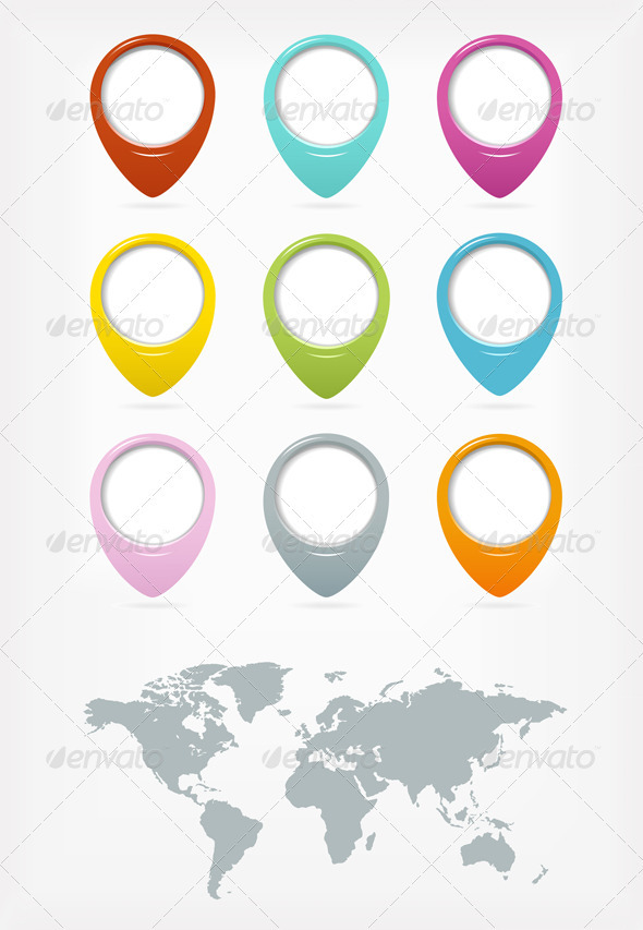 GraphicRiver Colorful Web Pointers Set With World Map 3272949