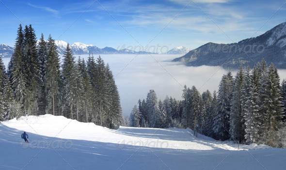 Skiing over the clouds panorama - Stock Photo - Images