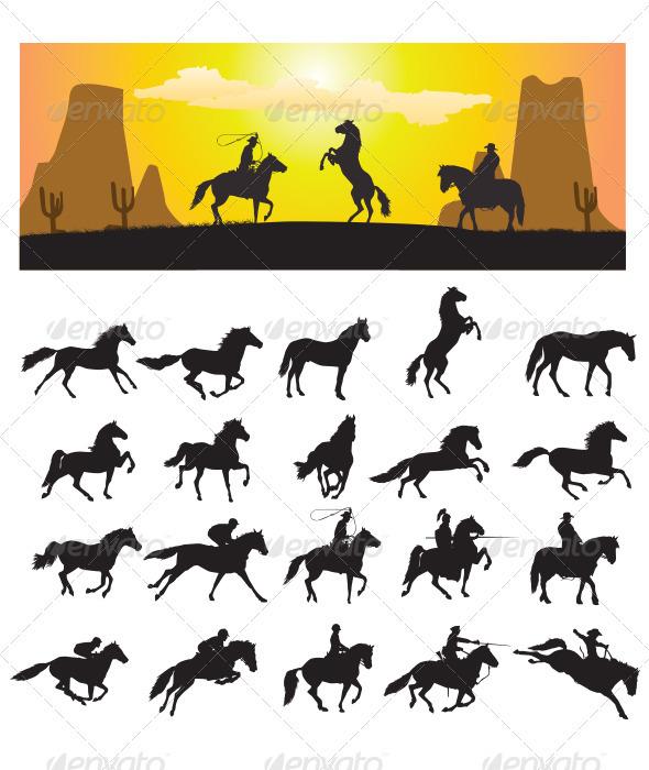 GraphicRiver Horse Silhouette 3273056
