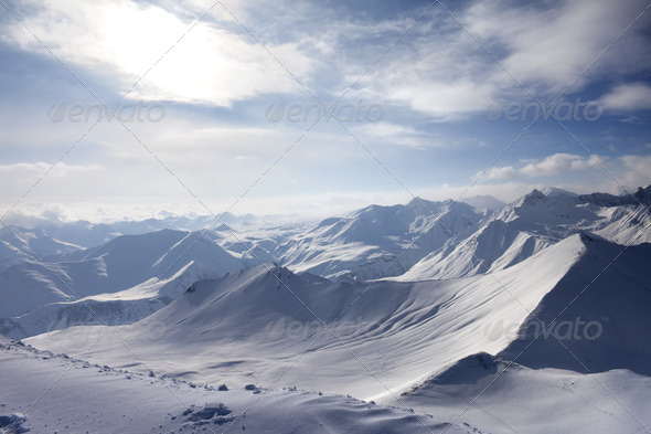 View of off-piste slope - Stock Photo - Images