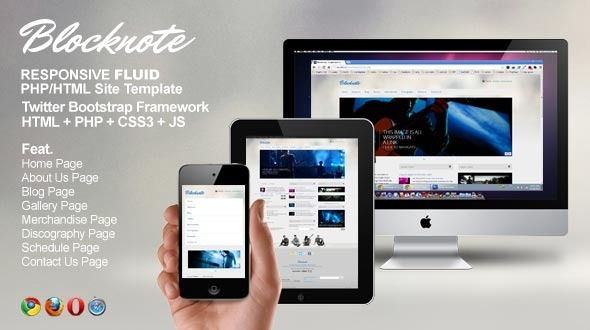 ThemeForest Blocknote Responsive Website for Band Musician 3257897