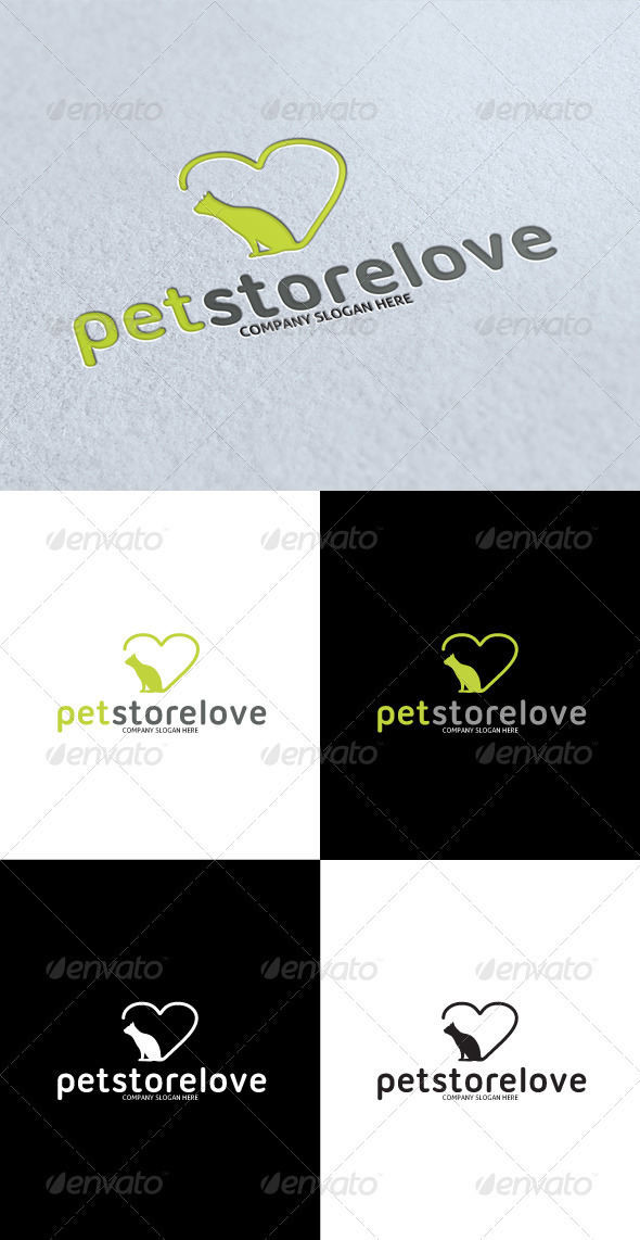 GraphicRiver Pet Store Love Logo 3268288