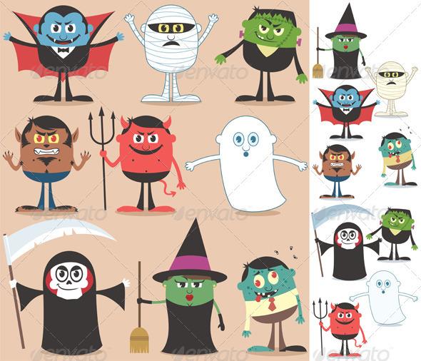 Halloween Character Design Challenge : Halloween characters graphicriver