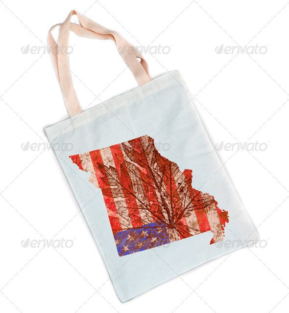 Missouri State Map Flag Pattern on White Cotton Shopping Bag - Stock Photo - Images