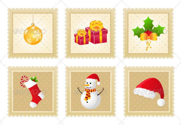 GraphicRiver Set of Christmas Postage Stamps 3275622