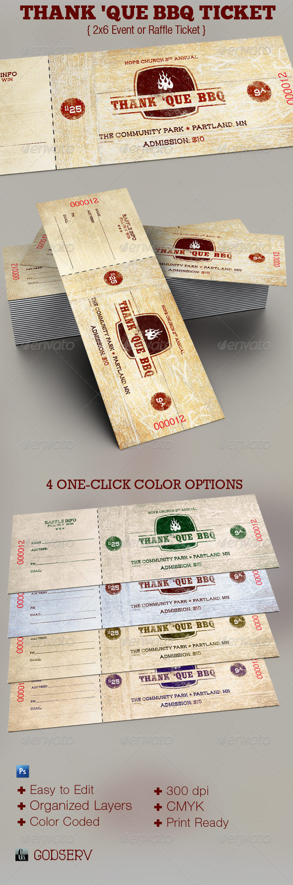 Thank 'Que Western BBQ Charity Ticket Template - Miscellaneous Print Templates