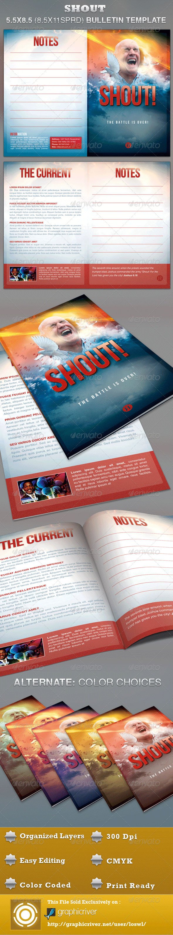 GraphicRiver Shout Church Bulletin Template 3276868