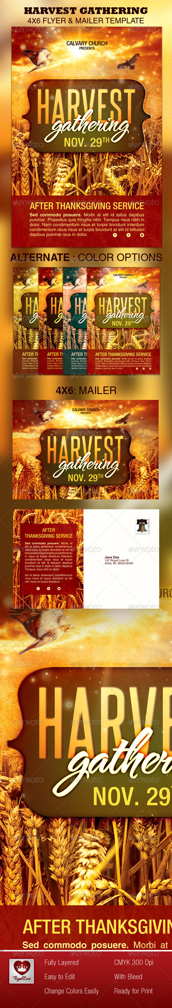 GraphicRiver Harvest Gathering Church Flyer & Mailer Template 3277120