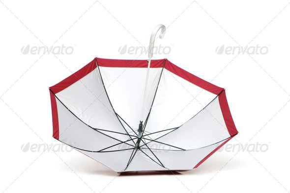 Colourful umbrella isolated on the white background - Stock Photo - Images