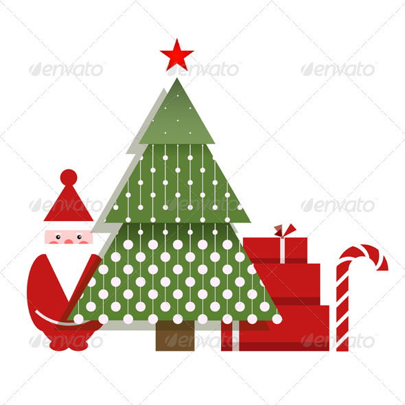 GraphicRiver Santa Christmas Tree Presents and a Candy 3277568