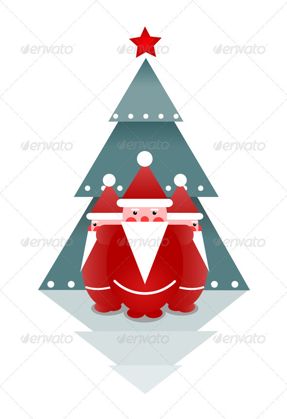 GraphicRiver Three Santas and Christmas Tree 3277572