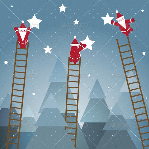 GraphicRiver Santa Hanging Stars and Christmas Woods 3277580