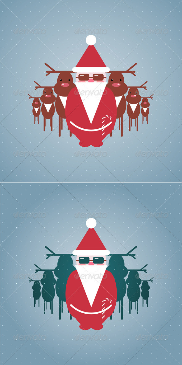 GraphicRiver Santa and his Reindeer Gang Illustration 3277665