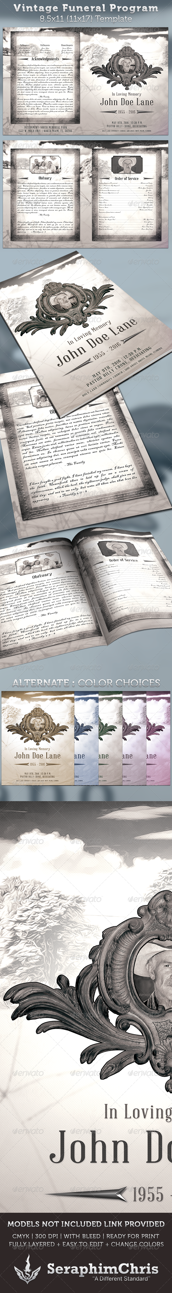 Vintage Funeral Program Template - Informational Brochures
