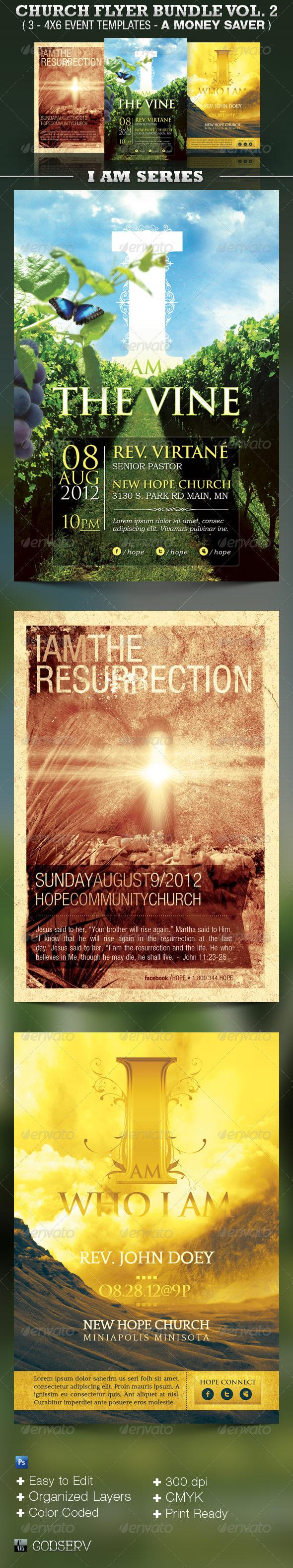 Church Flyer Template Bundle Vol 2 - I AM SERIES  - Church Flyers