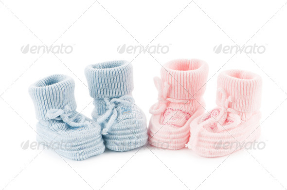Woven baby shoes isolated on white background - Stock Photo - Images