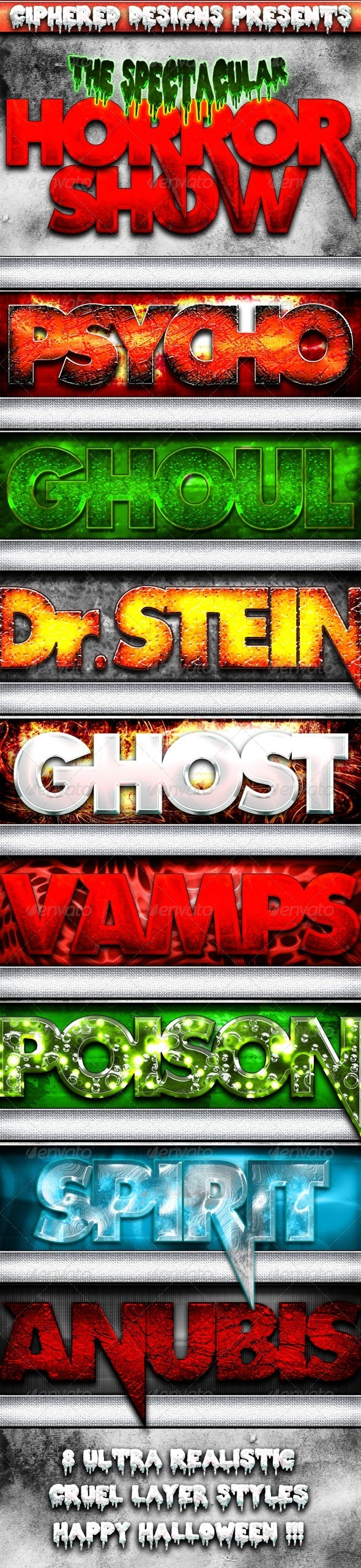 GraphicRiver Horror Show Premium Halloween Styles 3279293