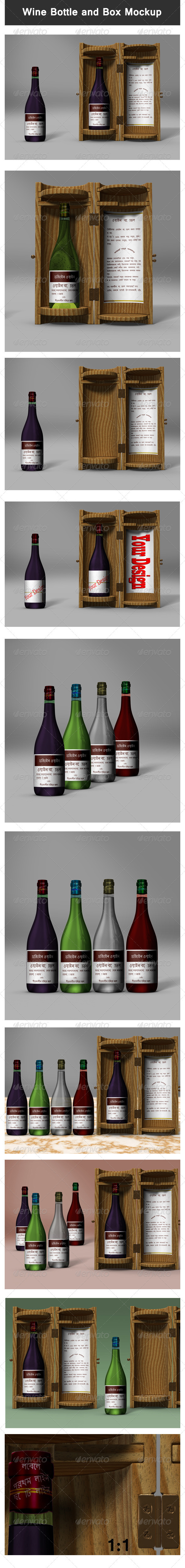 GraphicRiver Wine Bottle and Box Mock-up 3280310