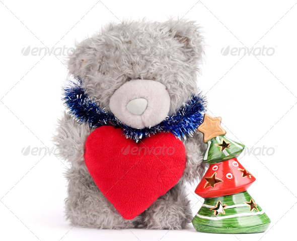 Teddy-bear with heart and tree - Stock Photo - Images