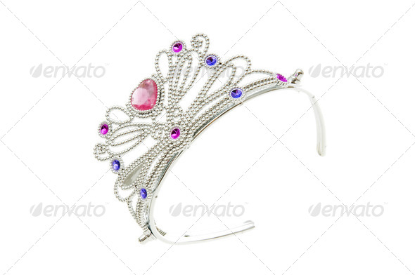 Silver diadem isolated on the white background - Stock Photo - Images