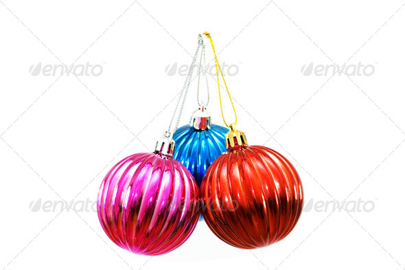 Christmas balls of various colours isolated on white - Stock Photo - Images