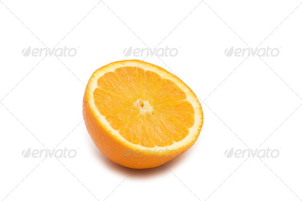 Half-cut orange isolated on the white background - Stock Photo - Images