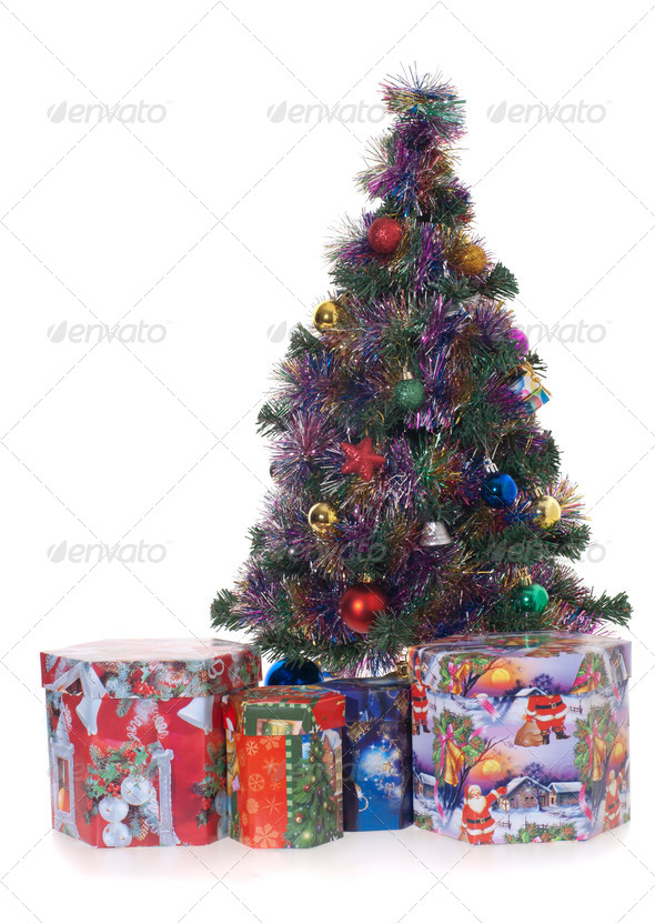 Cristmas tree whit gifts - Stock Photo - Images