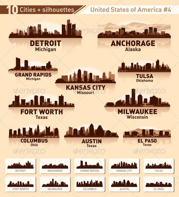 GraphicRiver Skyline city set 10 cities of USA #4 3281326