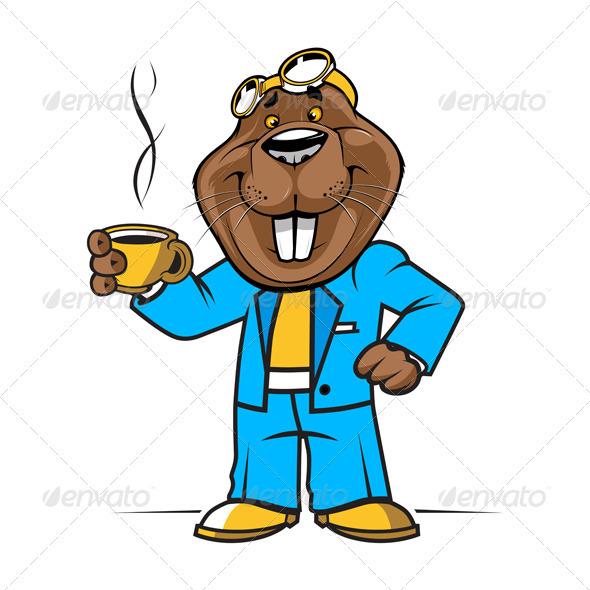 GraphicRiver Cartoon Beaver Or Groundhog Mascot 3282064
