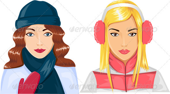 GraphicRiver 2 Girls in Winter Clothes 3219293