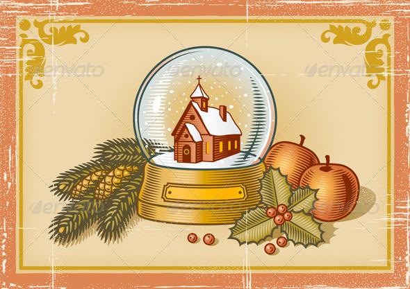 GraphicRiver Retro Christmas Card 3282249