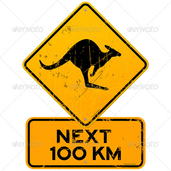 GraphicRiver Roadsign Kangaroos Next 100 km 3282956