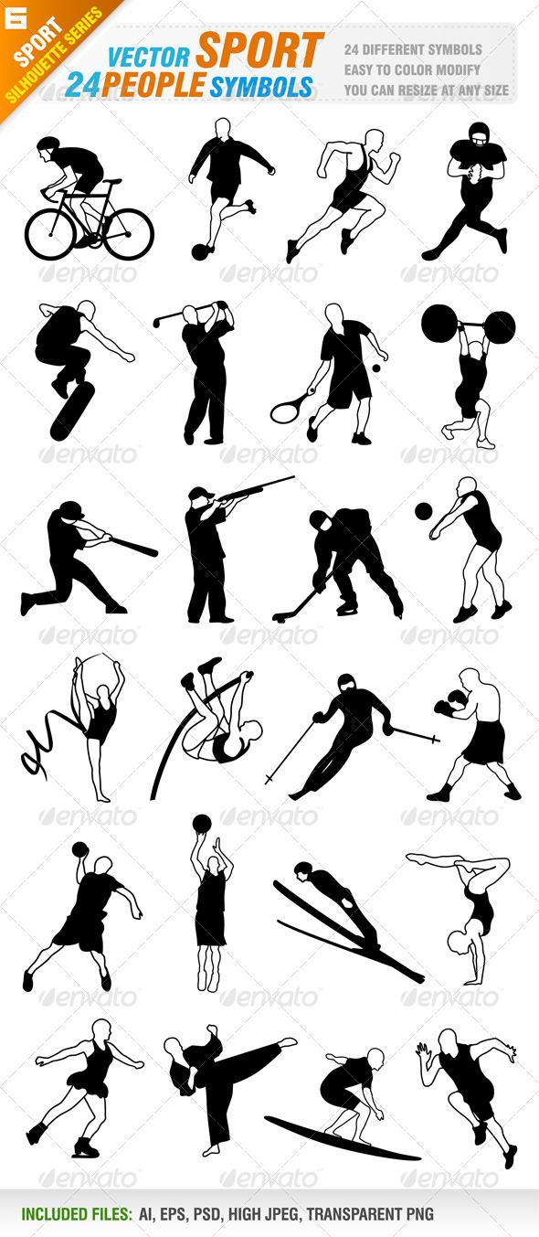 GraphicRiver 24 Sport people symbols 3283968