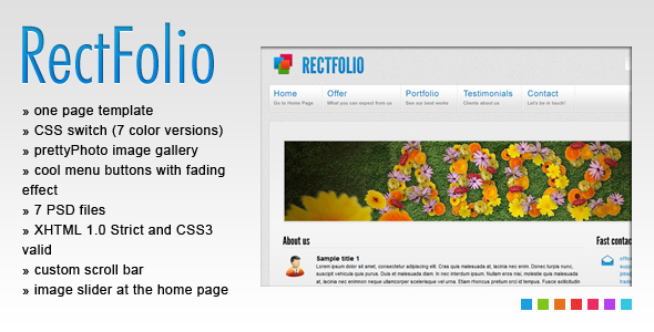 RectFolio - One Page Template - Preview